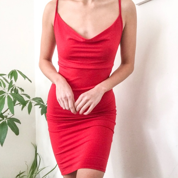 5216a0b8a88 Forever 21 Dresses   Skirts - Forever21 Red Cowl Neck Bodycon midi dress